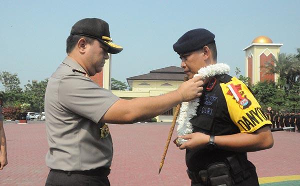 Penyambutan pasukan BKO Brimob Banten e